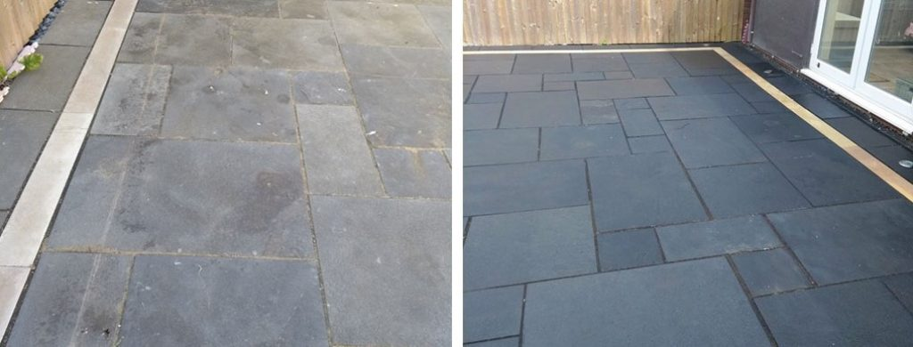 Black Limestone Patio maintenance and Renovation