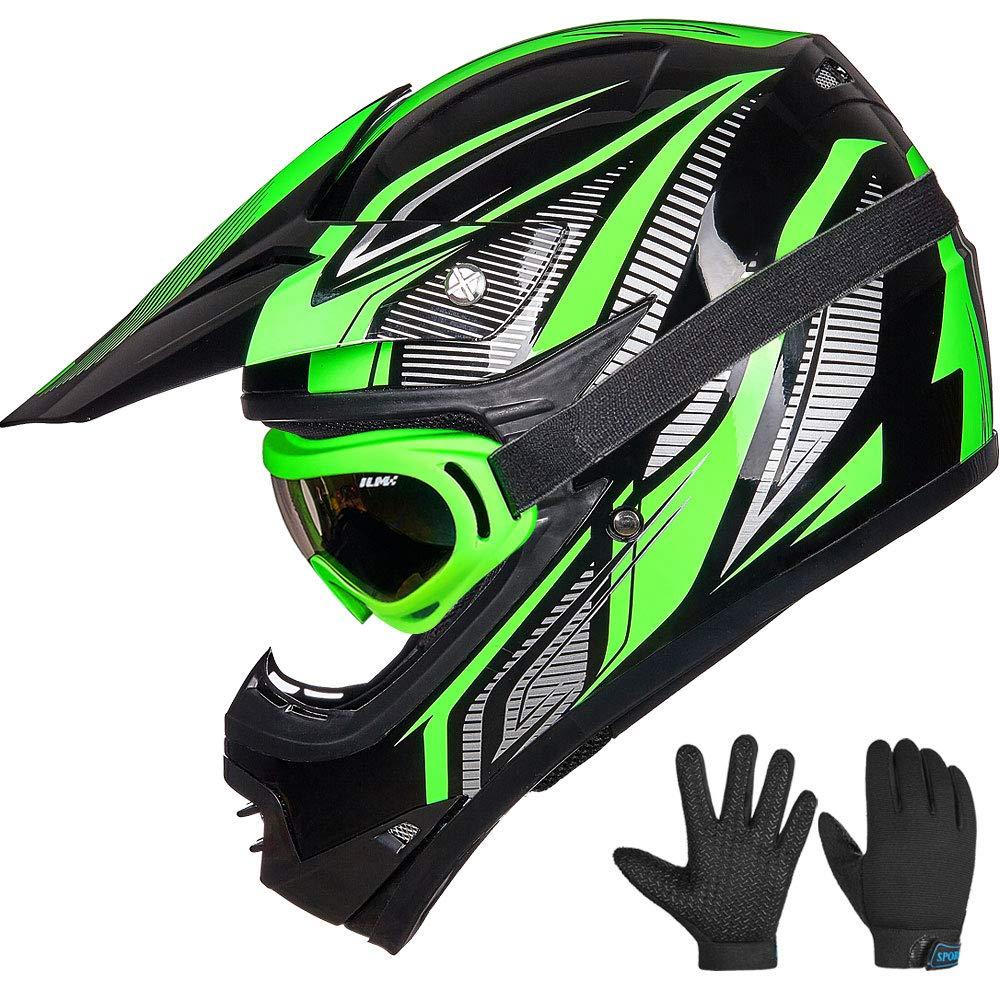 ILM Youth Kids ATV Motocross Helmet in green coler