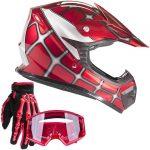 Typhoon Youth Kids Helmet Offroad Gear Combo Gloves Goggles DOT Motocross ATV Dirt Bike MX Spiderman Red, Medium